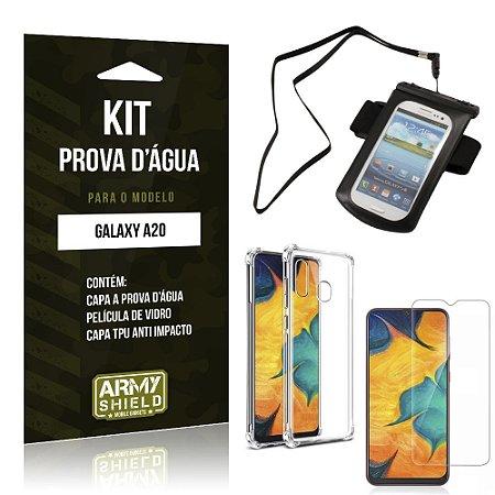 Kit Prova D'água Galaxy A20 Capinha a Prova D'água + Capinha Anti Impacto + Película - Armyshield