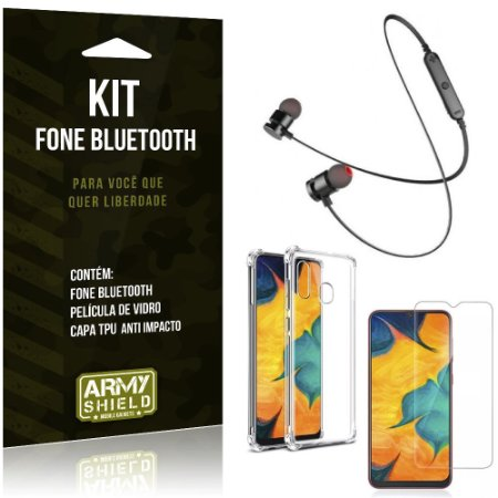 Kit Fone Bluetooth Sport 901 Galaxy A20 Fone + Capinha Anti Impacto + Película de Vidro - Armyshield