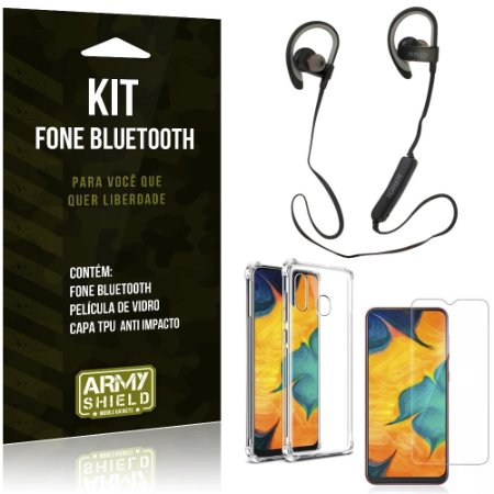Kit Fone Bluetooth Sport 907 Galaxy A20 Fone + Capinha Anti Impacto + Película de Vidro - Armyshield