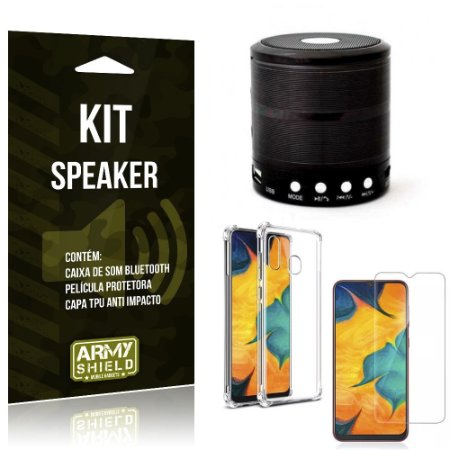 Kit Mini Speaker Galaxy A20 Caixa de Som Bluetooth + Capa Anti Impacto + Película Vidro - Armyshield