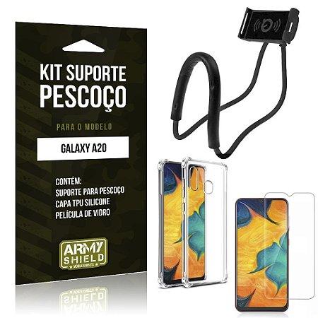 Kit Suporte Pescoço Galaxy A20 Suporte + Capinha Anti Impacto + Película de Vidro - Armyshield