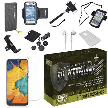 Kit Platinum Tipo C Galaxy A20 com 9 Acessórios - Armyshield