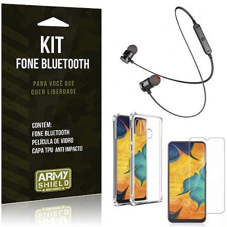 Kit Fone Bluetooth Sport 901 Galaxy A30 Fone + Capinha Anti Impacto + Película de Vidro - Armyshield