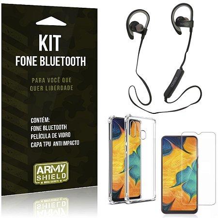 Kit Fone Bluetooth Sport 907 Galaxy A30 Fone + Capinha Anti Impacto + Película de Vidro - Armyshield
