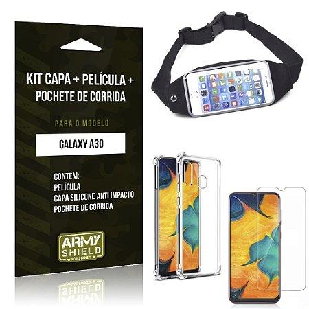 Kit Pochete Galaxy A30 Pochete + Capinha Anti Impacto + Película de Vidro - Armyshield