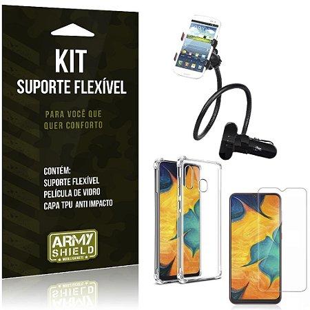Kit Suporte Flexível Galaxy A30 Suporte + Capinha Anti Impacto + Película de Vidro - Armyshield