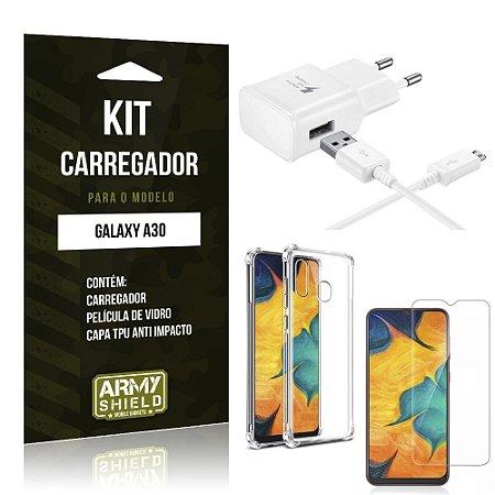Kit Carregador Tipo C Galaxy A30 Carregador + Capinha Anti Impacto + Película de Vidro - Armyshield
