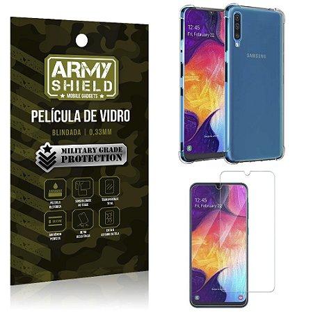 Kit Anti Impacto Galaxy A50 Capinha Anti Impacto + Película de Vidro - Armyshield