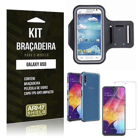 Kit Braçadeira Galaxy A50 Braçadeira + Capinha Anti Impacto + Película de Vidro - Armyshield