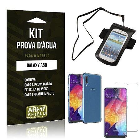 Kit Prova D'água Galaxy A50 Capinha a Prova D'água + Capinha Anti Impacto + Película - Armyshield