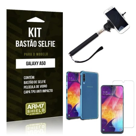 Kit Bastão de Selfie Galaxy A50 Bastão + Capinha Anti Impacto + Película de Vidro - Armyshield
