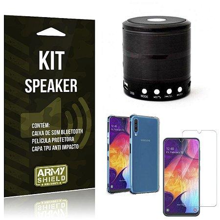Kit Mini Speaker Galaxy A50 Caixa de Som Bluetooth + Capa Anti Impacto + Película Vidro - Armyshield