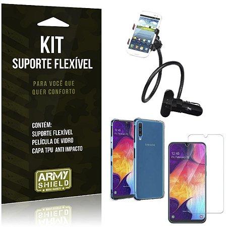 Kit Suporte Flexível Galaxy A50 Suporte + Capinha Anti Impacto + Película de Vidro - Armyshield
