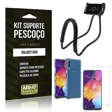 Kit Suporte Pescoço Galaxy A50 Suporte + Capinha Anti Impacto + Película de Vidro - Armyshield
