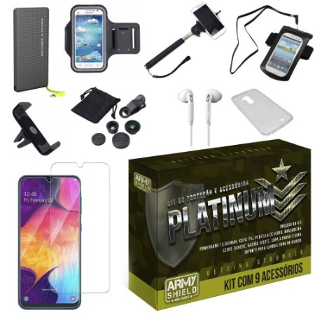 Kit Platinum Tipo C Galaxy A50 com 9 Acessórios - Armyshield