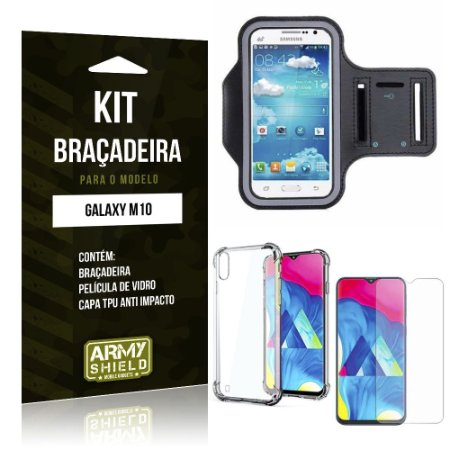 Kit Braçadeira Galaxy M10 Braçadeira + Capinha Anti Impacto + Película de Vidro - Armyshield