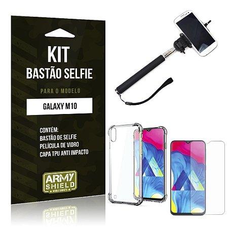 Kit Bastão de Selfie Galaxy M10 Bastão + Capinha Anti Impacto + Película de Vidro - Armyshield