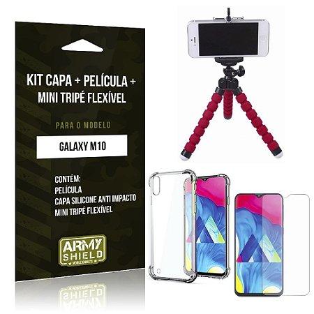 Kit Mini Tripé Flexível Galaxy M10 Tripé + Capinha Anti Impacto + Película de Vidro - Armyshield