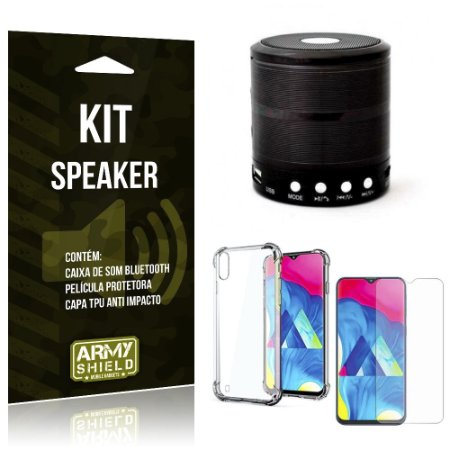 Kit Mini Speaker Galaxy M10 Caixa de Som Bluetooth + Capinha Anti Impacto + Película - Armyshield