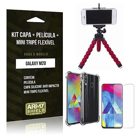 Kit Mini Tripé Flexível Galaxy M20 Tripé + Capinha Anti Impacto + Película de Vidro - Armyshield