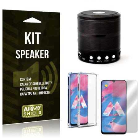 Kit Mini Speaker Galaxy M20 Caixa de Som Bluetooth + Capa Anti Impacto + Película Vidro - Armyshield
