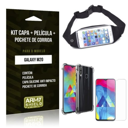Kit Pochete Galaxy M20 Pochete + Capinha Anti Impacto + Película de Vidro - Armyshield