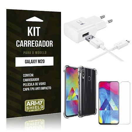 Kit Carregador Tipo C Galaxy M20 Carregador + Capinha Anti Impacto + Película de Vidro - Armyshield