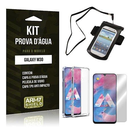 Kit Prova D'água Galaxy M30 Capinha a Prova D'água + Capinha Anti Impacto + Película - Armyshield