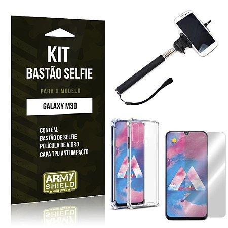 Kit Bastão de Selfie Galaxy M30 Bastão + Capinha Anti Impacto + Película de Vidro - Armyshield