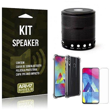 Kit Mini Speaker Galaxy M30 Caixa de Som Bluetooth + Capa Anti Impacto + Película Vidro - Armyshield