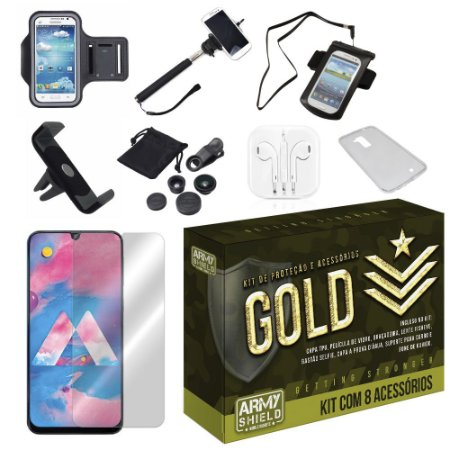 Kit Gold Galaxy M30 com 8 Acessórios - Armyshield