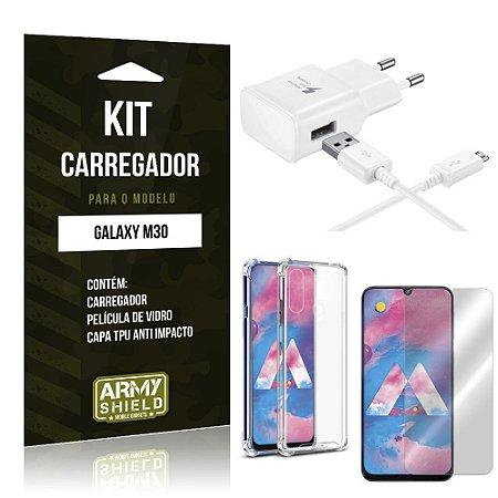 Kit Carregador Tipo C Galaxy M30 Carregador + Capinha Anti Impacto + Película de Vidro - Armyshield