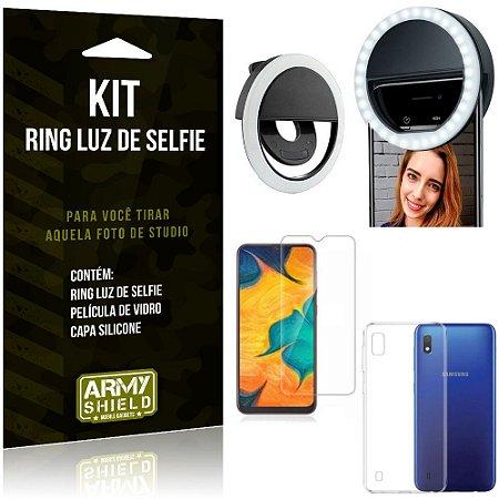 Ring Luz de Selfie Samsung Galaxy A10 Flash Ring + Capa Silicone + Película Vidro - Armyshield
