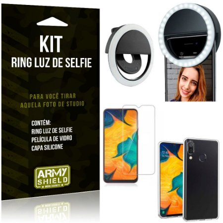 Ring Luz de Selfie Samsung Galaxy A20 Flash Ring + Capa Silicone + Película Vidro - Armyshield