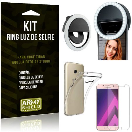 Ring Luz de Selfie Samsung Galaxy A3 (2017) Flash Ring + Capa Silicone + Película Vidro - Armyshield