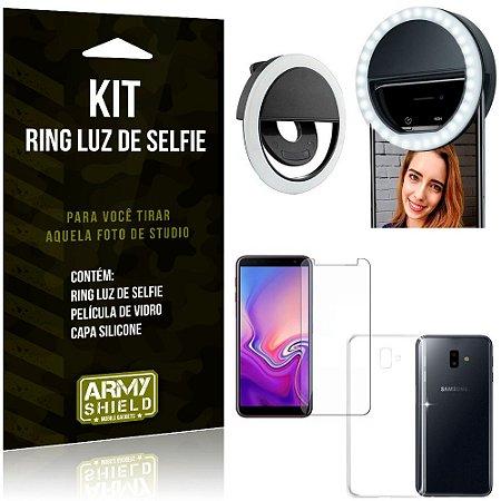Ring Luz de Selfie Samsung Galaxy J6 Plus (2018) Flash Ring + Capa + Película Vidro - Armyshield