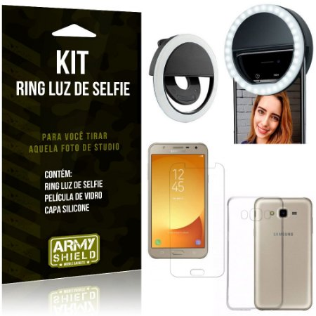 Ring Luz de Selfie Samsung Galaxy J7 Neo (2017) Flash Ring + Capa + Película Vidro - Armyshield