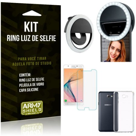 Ring Luz de Selfie Samsung Galaxy J7 Prime Flash Ring + Capa Silicone + Película Vidro - Armyshield