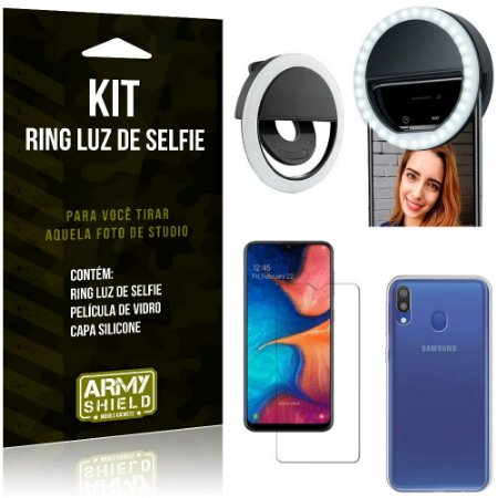 Ring Luz de Selfie Samsung Galaxy M20 Flash Ring + Capa Silicone + Película Vidro - Armyshield