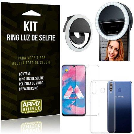 Ring Luz de Selfie Samsung Galaxy M30 Flash Ring + Capa Silicone + Película Vidro - Armyshield