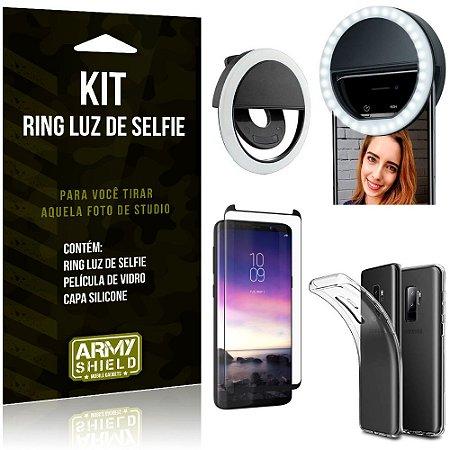 Ring Luz de Selfie Samsung Galaxy S9 Plus Flash Ring + Capa Silicone + Película Vidro - Armyshield