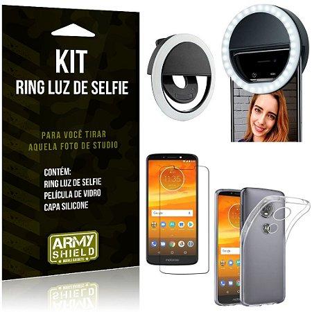 Ring Luz de Selfie Motorola Moto E5 Plus Flash Ring + Capa Silicone + Película Vidro - Armyshield