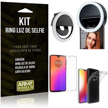 Ring Luz de Selfie Motorola Moto G7 Flash Ring + Capa Silicone + Película Vidro - Armyshield