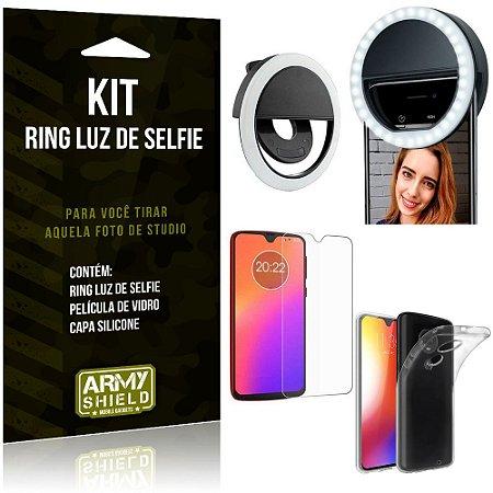 Ring Luz de Selfie Motorola Moto G7 Plus Flash Ring + Capa Silicone + Película Vidro - Armyshield