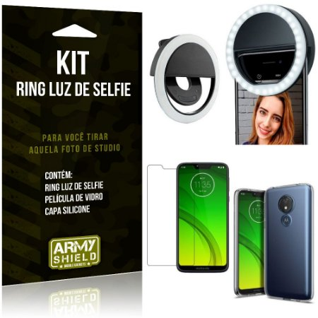 Ring Luz de Selfie Motorola Moto G7 Power Flash Ring + Capa Silicone + Película Vidro - Armyshield