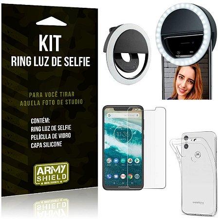 Ring Luz de Selfie Motorola Moto One Flash Ring + Capa Silicone + Película Vidro - Armyshield