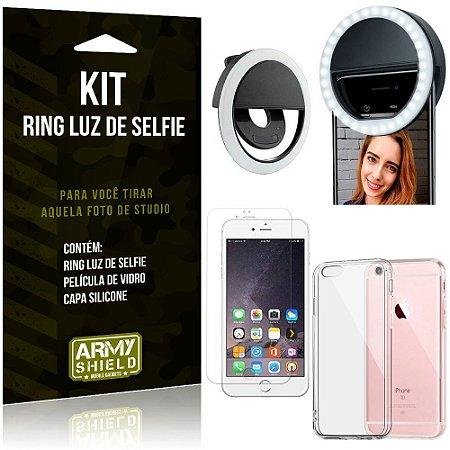 Ring Luz de Selfie Apple iPhone 6 6S Plus Flash Ring + Capa Silicone + Película Vidro - Armyshield