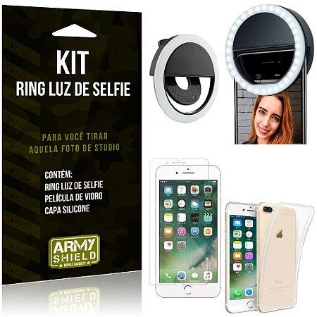 Ring Luz de Selfie Apple iPhone 7 Plus Flash Ring + Capa Silicone + Película Vidro - Armyshield