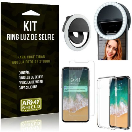 Ring Luz de Selfie Apple iPhone X Flash Ring + Capa Silicone + Película Vidro - Armyshield