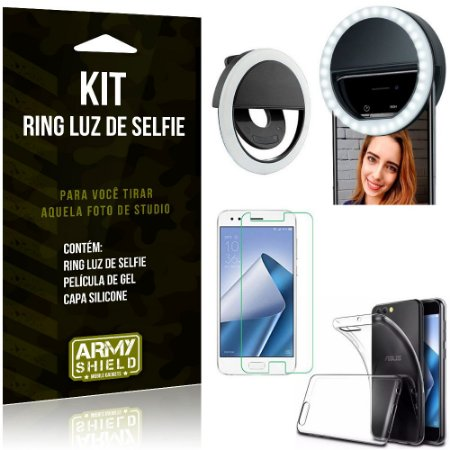 Ring Luz de Selfie Asus Zenfone 4 ZE554KL Flash Ring + Capa Silicone + Película Gel - Armyshield
